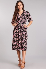 Chris & Carol Black Floral Wrap-Midi - Product Mini Image
