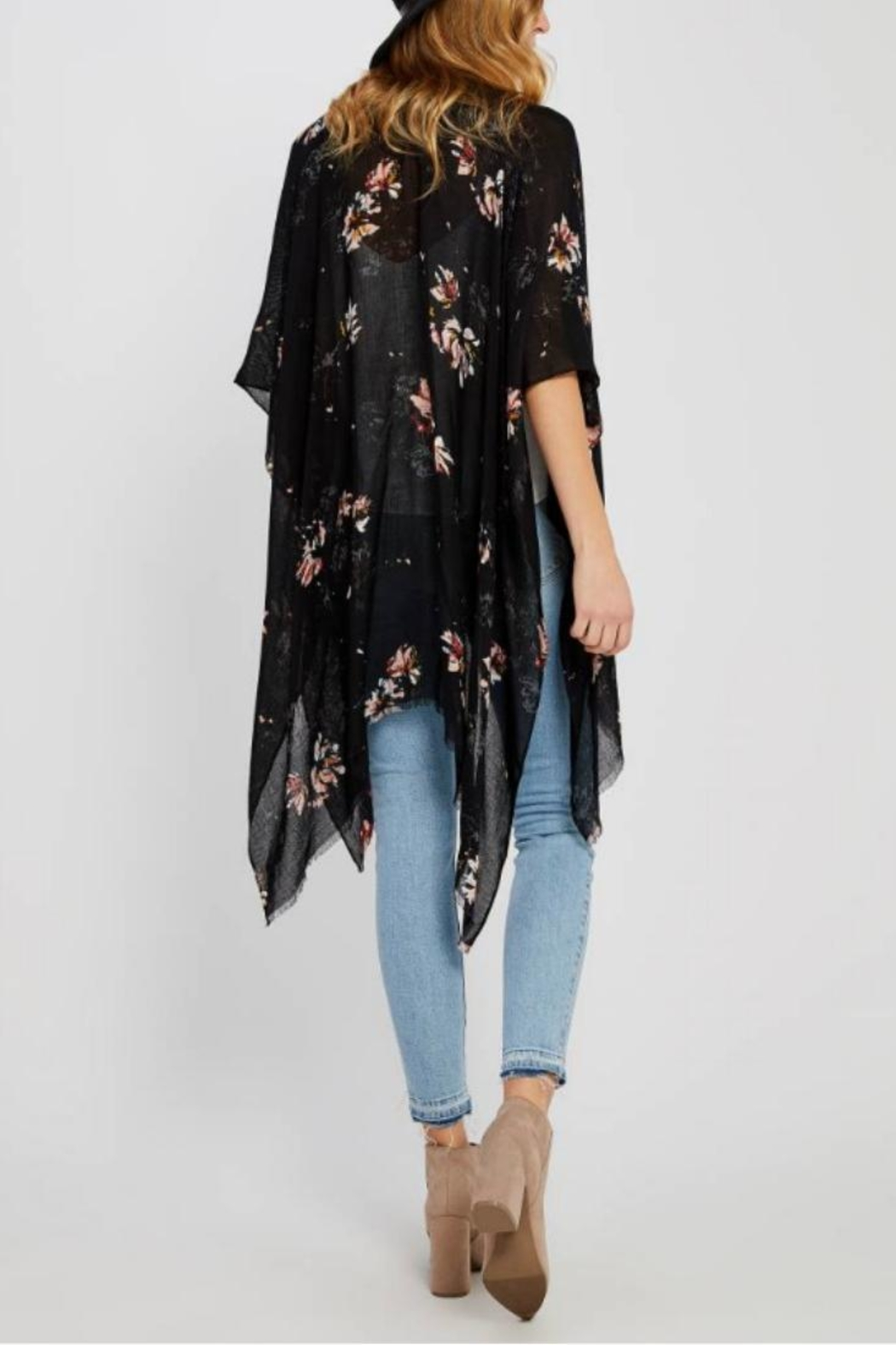Gentle Fawn Black Foral Kimono - Front Full Image