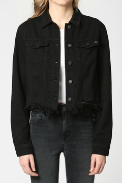 Hidden Jeans Black Frayed Bottom Fitted Jacket - Product List Image