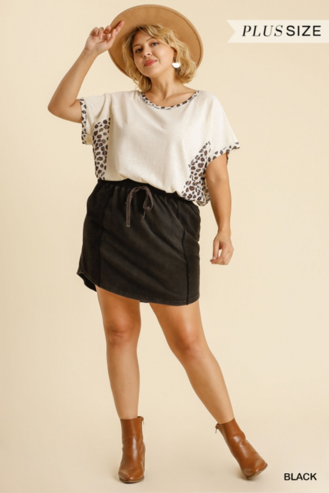 Umgee Plus  Black French Terry Skirt with Pockets - Main Image