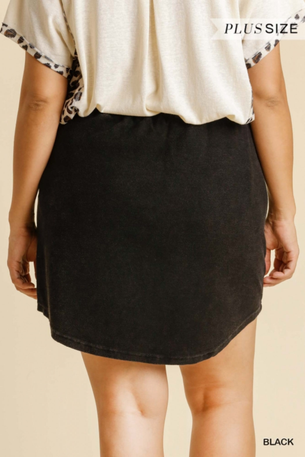 Umgee Plus  Black French Terry Skirt with Pockets - Side Cropped Image