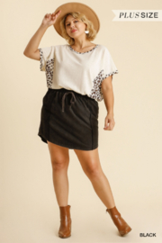 Umgee Plus  Black French Terry Skirt with Pockets - Product Mini Image