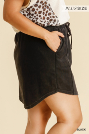 Umgee Plus  Black French Terry Skirt with Pockets - Front full body