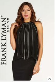 Frank Lyman Black Fringe Top - Product Mini Image