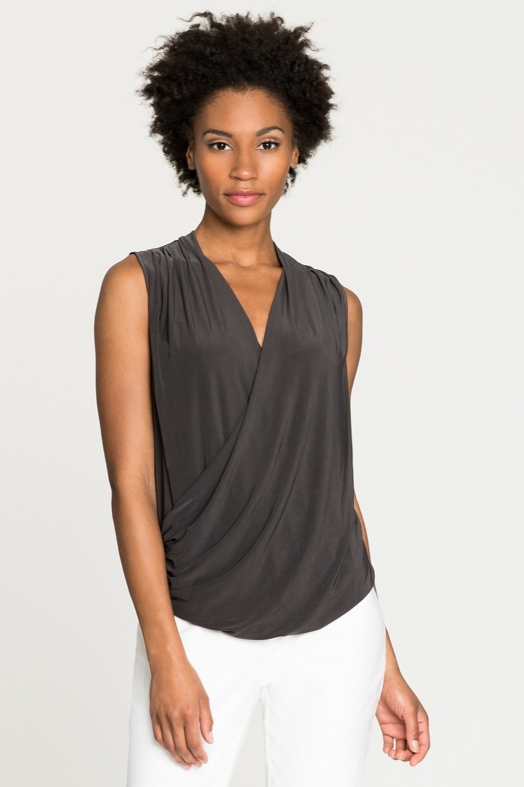 Nic+Zoe black front drape ruched top - Main Image