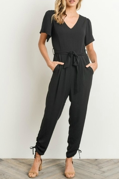 Shoptiques Product: Black Front-Tie Jumpsuit