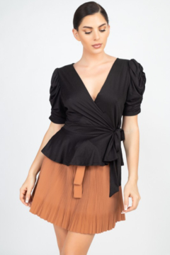 iris Black Front Wrap Ruched Sleeve Top - Product List Image