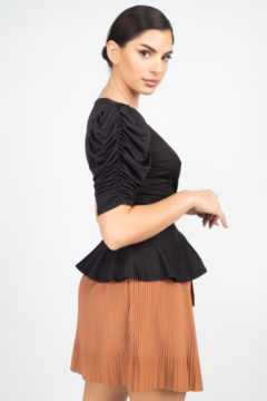 iris Black Front Wrap Ruched Sleeve Top - Alternate List Image