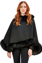Two's Company Black Fur Infinity Shawl - Front cropped