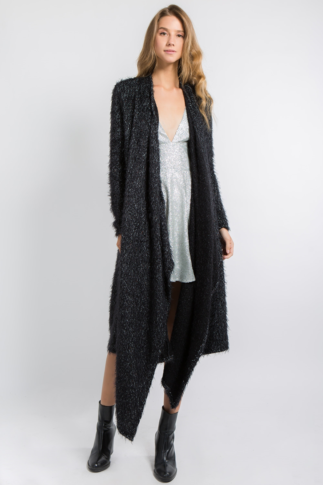 FANCO Black Fuzzy Cardigan - Front Cropped Image