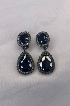 deannas Black Gemstone Dangle Earrings - Alternate List Image