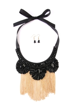 Shoptiques Product: Black-&-Gold Chain-Tassel Bib-Necklace-Set