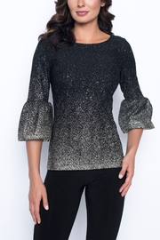 Frank Lyman Black & Gold Knit Top 3/4 Bell Sleeve - Product Mini Image
