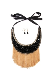 Riah Fashion Black-&-Gold-Tassel Bib-Necklace-Set - Product Mini Image