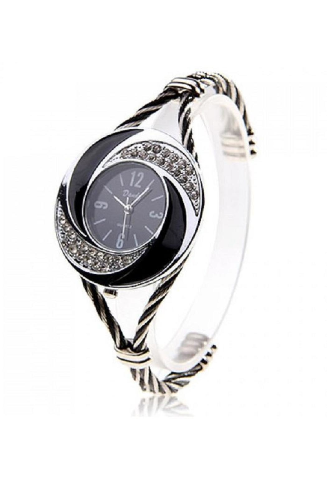 Adore Clothes & More Black Gold Watch - Front Cropped Image