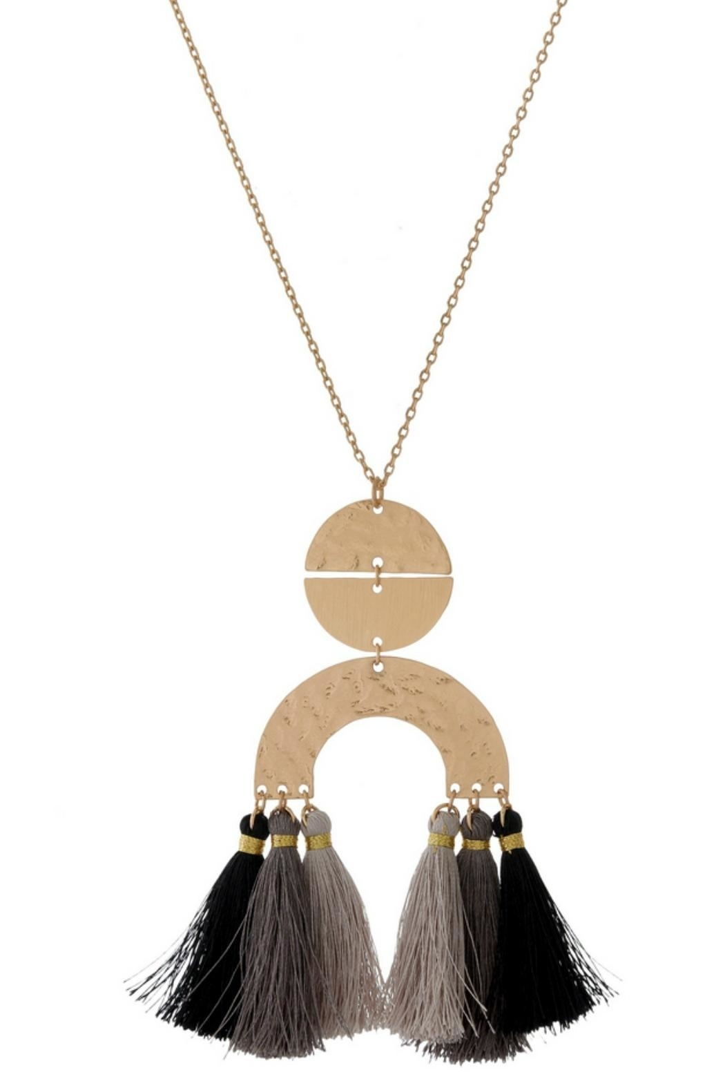 Mimi's Gift Gallery Black/gray Tassels Necklace - Main Image
