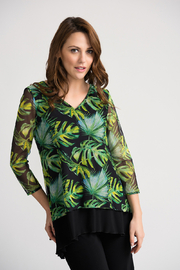 Joseph Ribkoff Black/Green/Multi Tunic - Product Mini Image