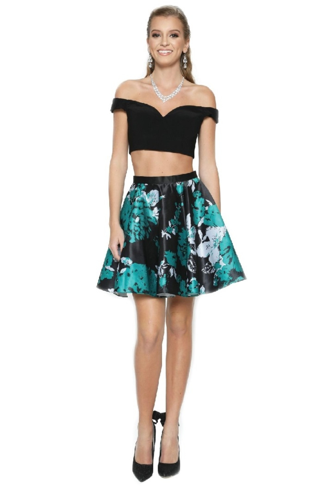 Juliet Black & Green Two Piece Formal Short Dress - Main Image