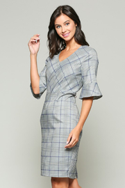 Esley Black, Grey, and Purple Glen Plaid Dress - Product Mini Image