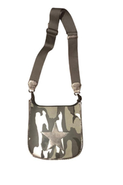 Ah!dorned BLACK/GREY CAMO CANVAS MESSENGER W/DISTRESSED LEATHER SILVER STAR - Product Mini Image