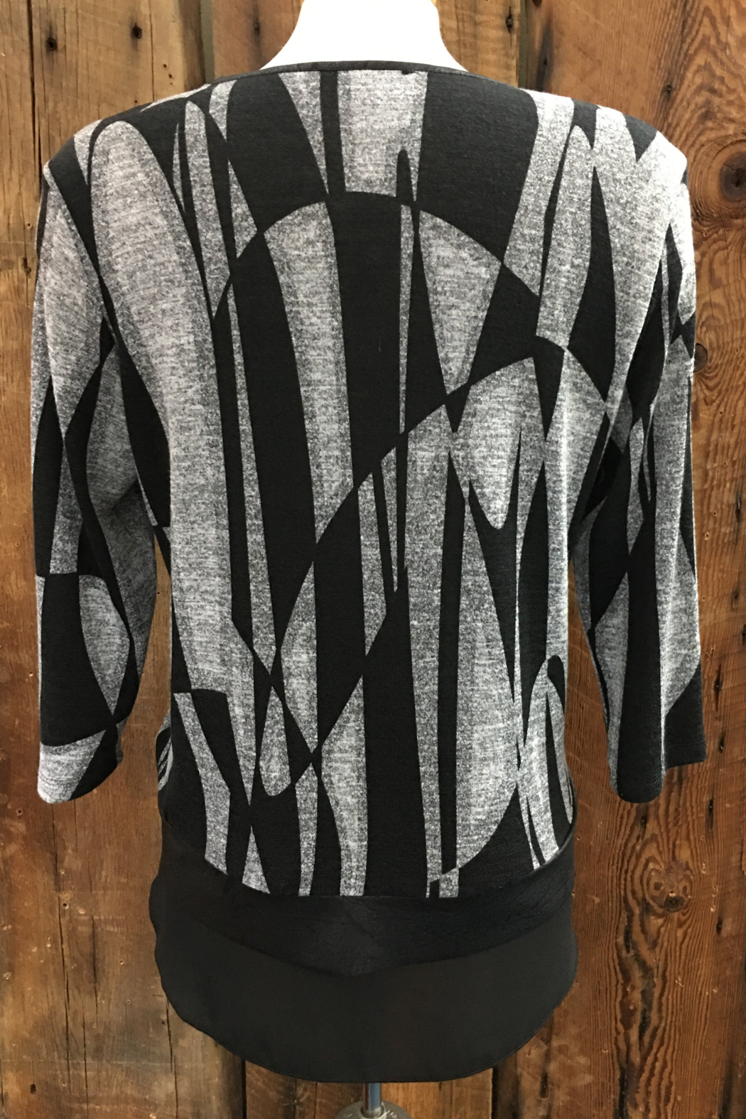 Bali Corp.  Black Grey Print Top - Front Full Image