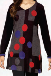 Parsley and Sage  Black/Grey tunic top with fun colorful large polka dots. - Product Mini Image