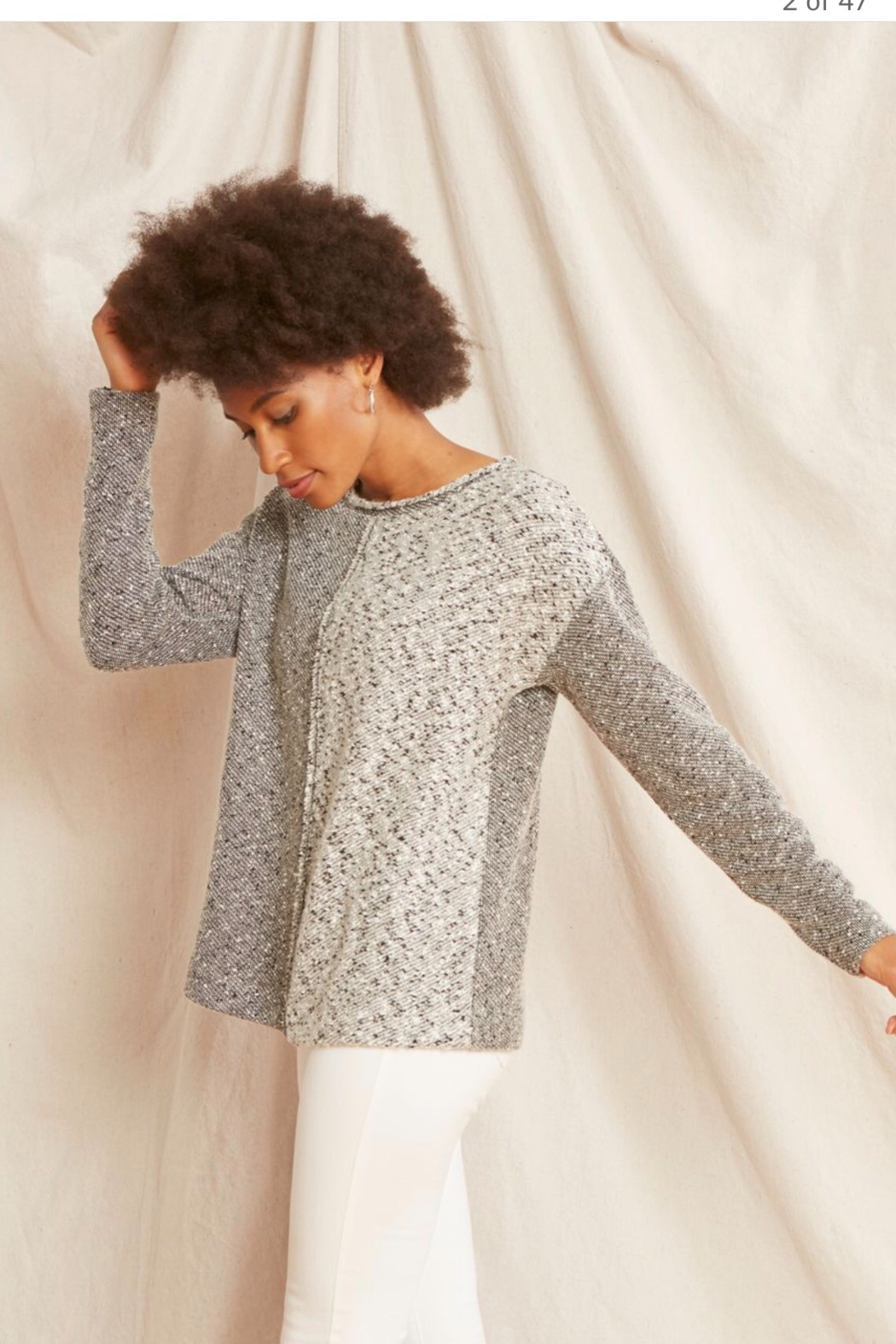 Nic +Zoe Black/grey/white speckled crew neck pullover sweater. - Main Image