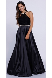 NOX A N A B E L Black Halter Top A-Line Long Formal Dress - Product Mini Image
