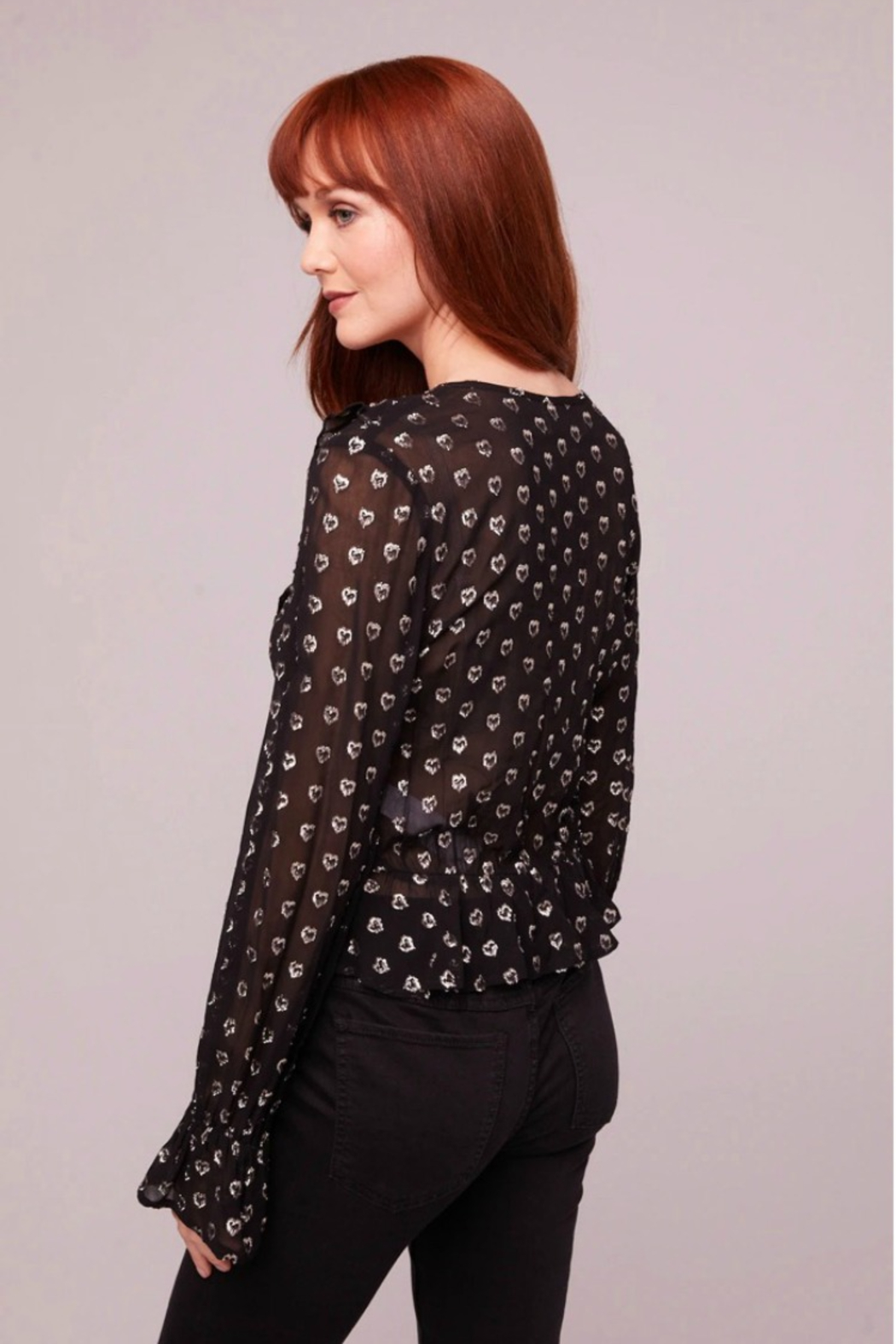 Band Of Gypsies Black Heart Blouse - Front Full Image