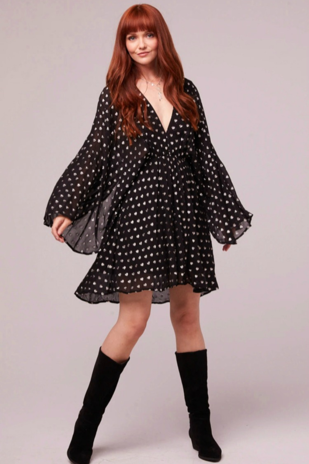 Band Of Gypsies Black Heart Kimono Dress - Front Cropped Image