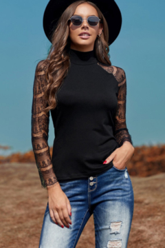 The Emerald Fox Boutique Black High Neck Lace Crochet Long Sleeve Top - Product List Image