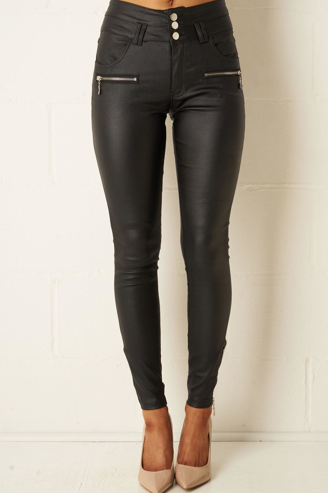 5b94567e1b15c frontrow Black High-Waist Wax-Trousers from Essex by Frontrow ...