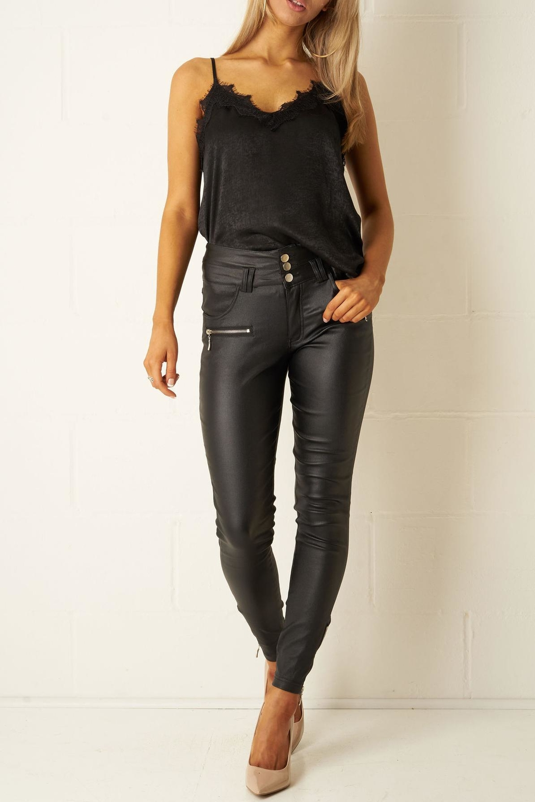 27cbfd81e0c18f frontrow Black High-Waist Wax-Trousers from Essex by Frontrow ...