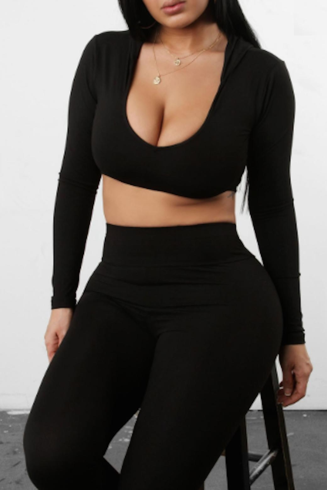 TIMELESS Black Hooded Crop - Main Image