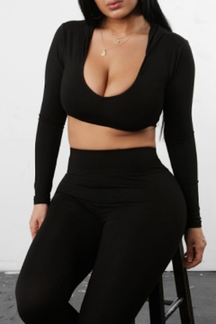TIMELESS Black Hooded Crop - Product List Image