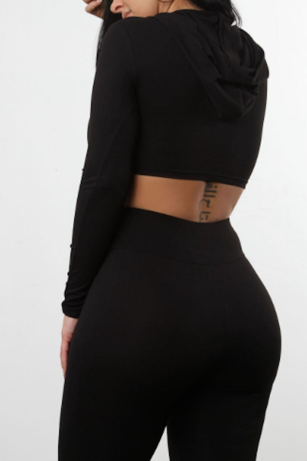 TIMELESS Black Hooded Crop - Front Full Image