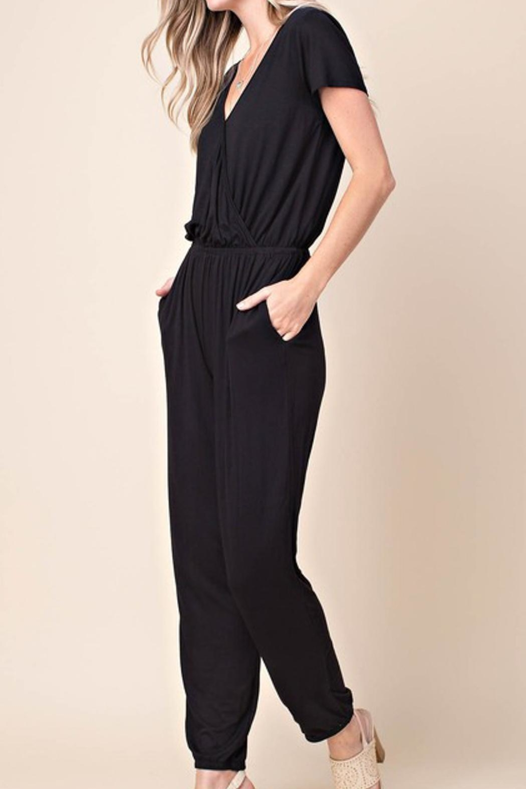 KORI AMERICA Black Jersey Jumpsuit - Front Cropped Image