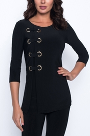 Frank Lyman Black Knit Gold Grommet Top - Product Mini Image