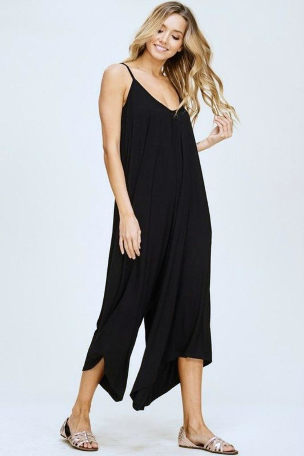 Simply Chic Black Knit Jumpsuit - Side Cropped Image