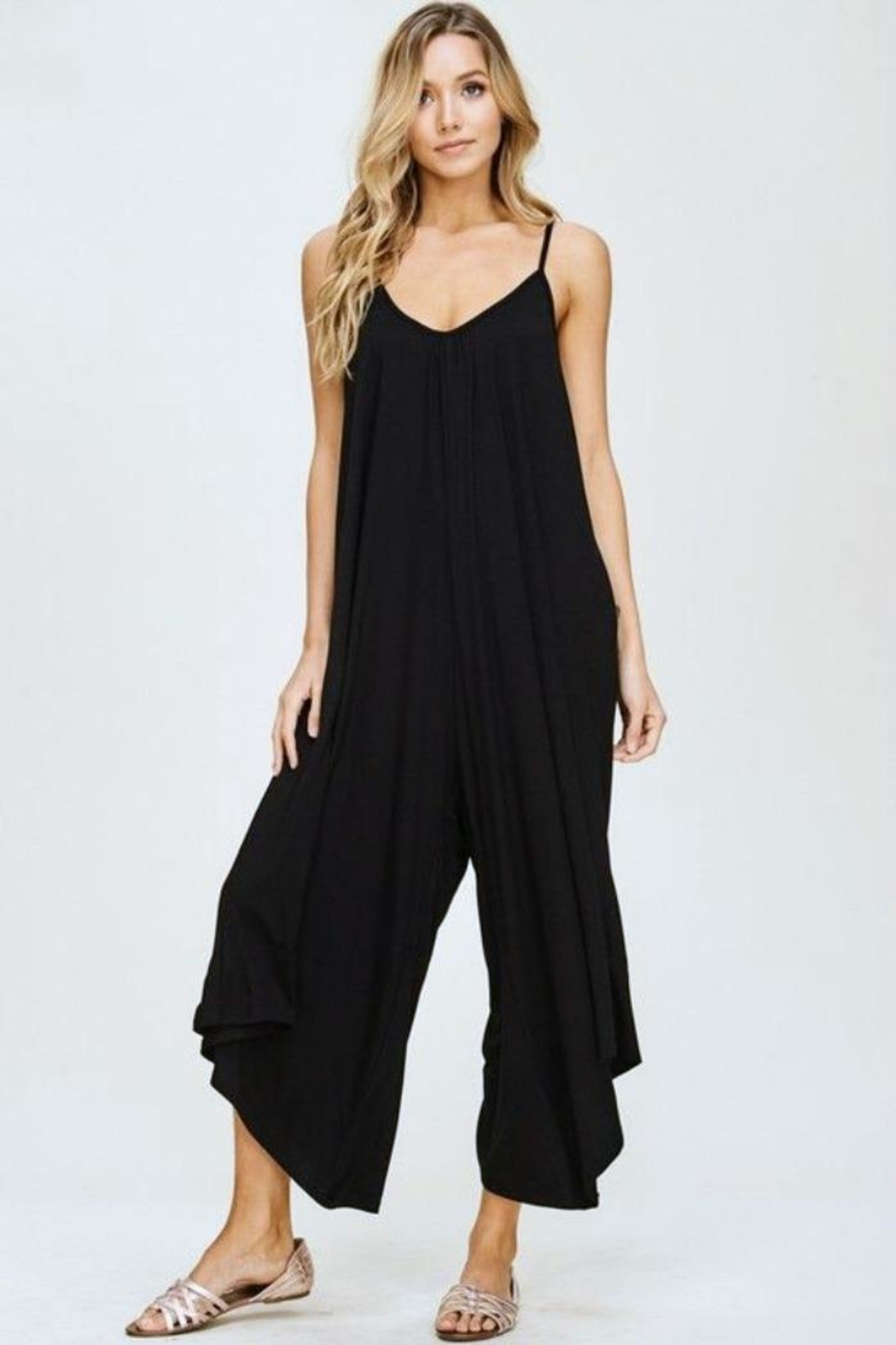 Simply Chic Black Knit Jumpsuit - Front Full Image