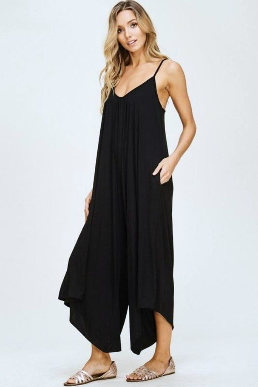 Simply Chic Black Knit Jumpsuit - Back Cropped Image