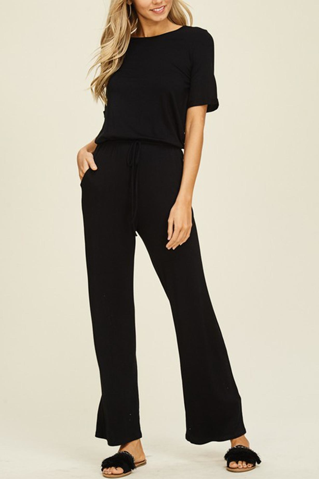 annabelle Black Knit Jumpsuit - Front Cropped Image