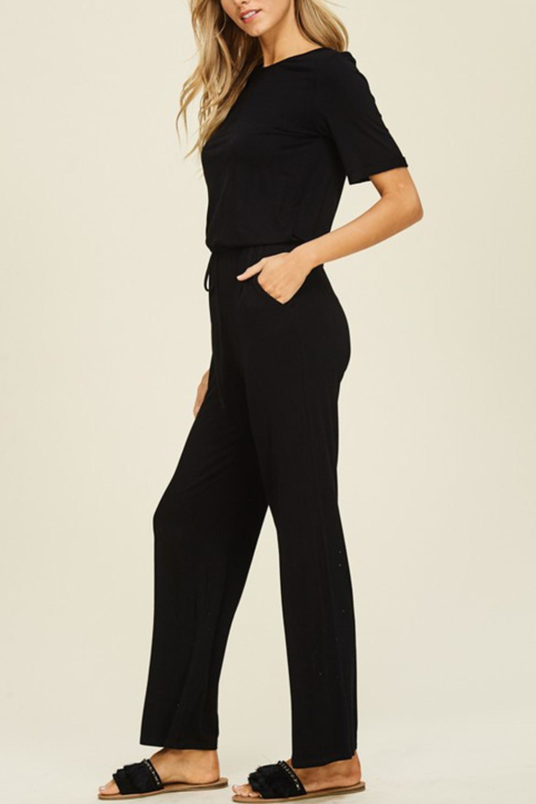 annabelle Black Knit Jumpsuit - Side Cropped Image