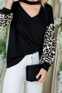 Adora Black knit top with leopard print sleeves and choker neck - Alternate List Image