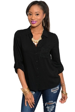 WFS Black Lace Accented Long Sleeve Top - Product List Image
