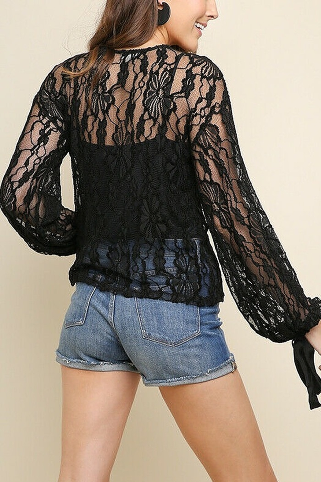 umgee  Black Lace Bell Top - Front Full Image