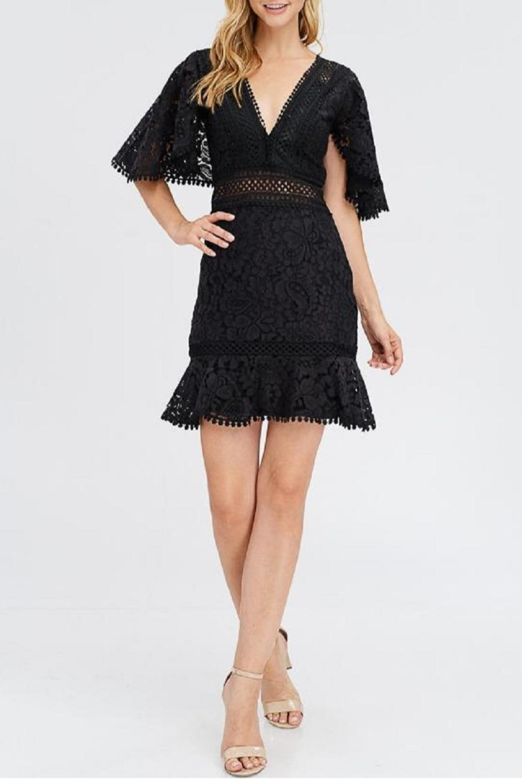 Dress Code Black Lace Dress - Front Cropped Image