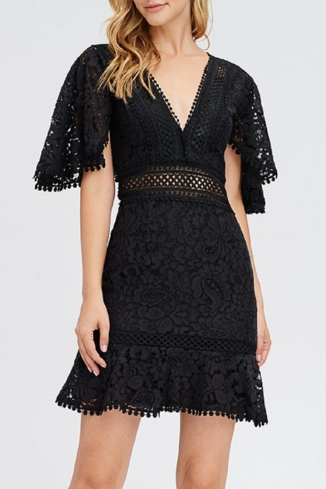 Dress Code Black Lace Dress - Front Full Image