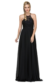 DANCING QUEEN Black Lace Halter A-Line Long Formal Dress - Product Mini Image