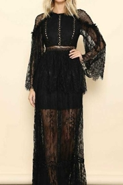 Tiny House of Fashion Black Lace Long Sleeve Maxi Dress - Product Mini Image